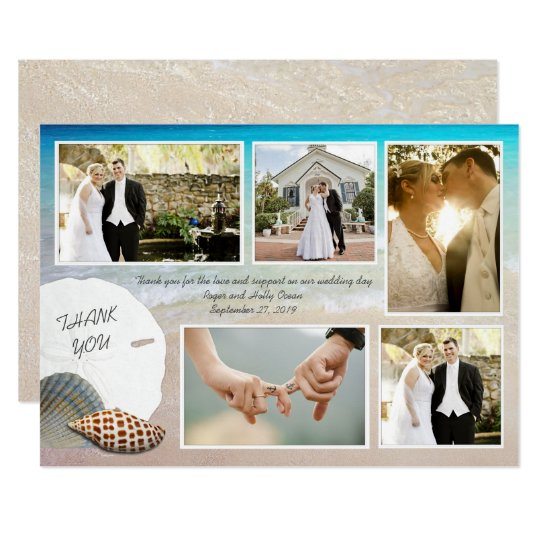 Beach Wedding Photo Thank You Flat Cards