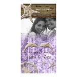 Beach Wedding Photocard Dolphins Purple Shells Customized Photo Card