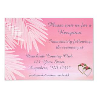 Beach Wedding Pink Reception Cards 9 Cm X 13 Cm Invitation Card