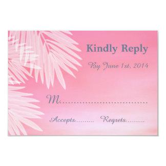 Beach Wedding Pink RSVP Cards 9 Cm X 13 Cm Invitation Card