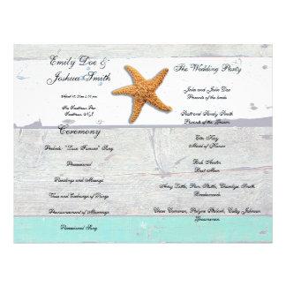 Beach Wedding Program Template Agenda 21.5 Cm X 28 Cm Flyer