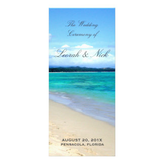 Beach Wedding Program Template Rack Card