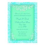 Beach Wedding Reception Aqua and Green Waves Invitation