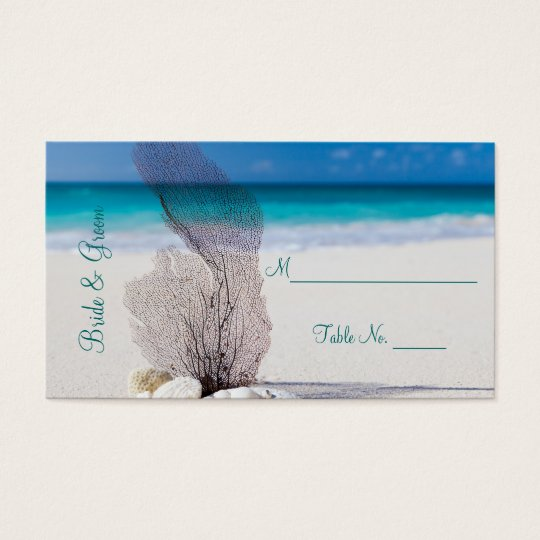 Beach Wedding Reception Place Card Setting Cards