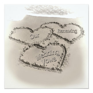 Beach Wedding Renewal - Sand Hearts-Beach Card