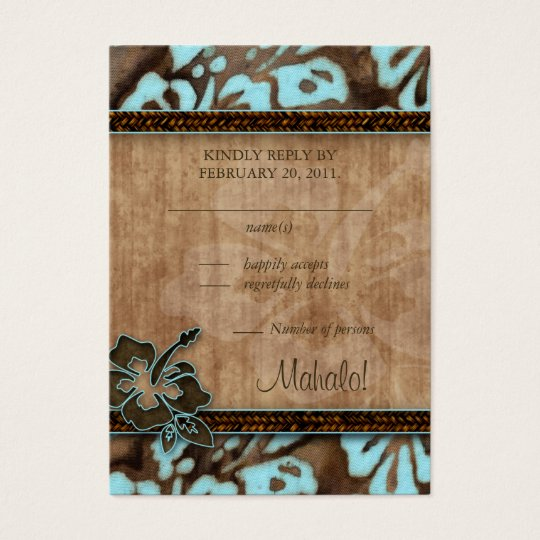 Beach Wedding Response Cards Hibiscus Blue Brown