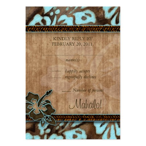 Beach Wedding Response Cards Hibiscus Blue Brown Pack Of Chubby Business Cards