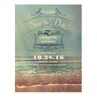 Beach wedding retro save the date postcards
