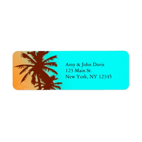 Beach wedding return address labels beach2