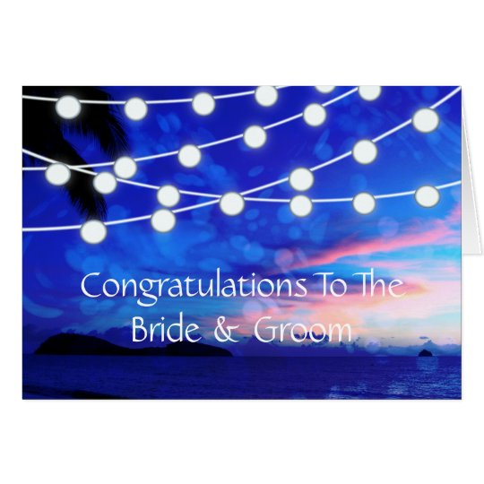 Beach Wedding Romance Glowing Lights Card