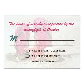 beach wedding rsvp 9 cm x 13 cm invitation card