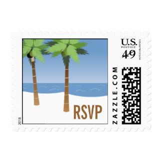 Beach Wedding RSVP Postage Stamp Palm Trees