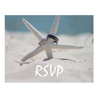 Beach Wedding RSVP with photo Postcard