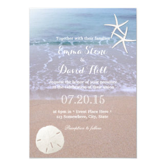 Beach Wedding Sand Dollar & Starfish Card