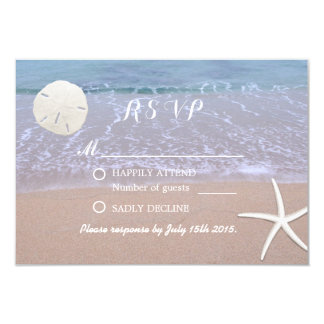 Beach Wedding Sand Dollar & Starfish Response Card