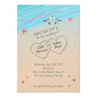 Beach wedding SAVE THE DATE 13 Cm X 18 Cm Invitation Card