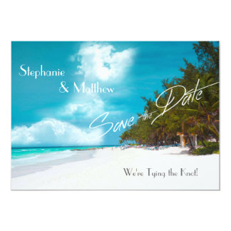 Beach Wedding Save the Date 5x7 Paper Invitation Card