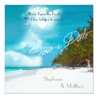 Beach Wedding Save the Date 5.25x5.25 Square Paper Invitation Card