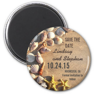 beach wedding save the date magnets with seashells