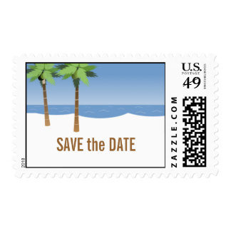 Beach Wedding Save the Date Postage Palm Trees