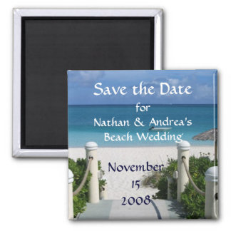 """Beach Wedding """"Save the Date"""" Square Magnet"""