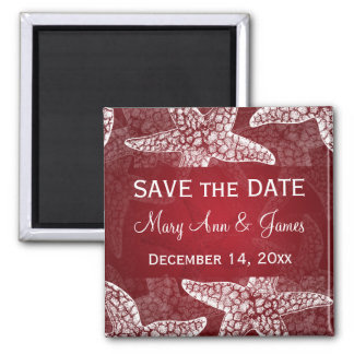 Beach Wedding Save The Date Starfish Red Square Magnet
