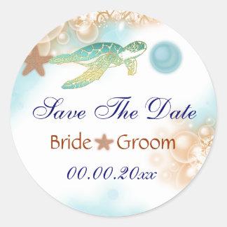 Beach wedding save the date theme round sticker
