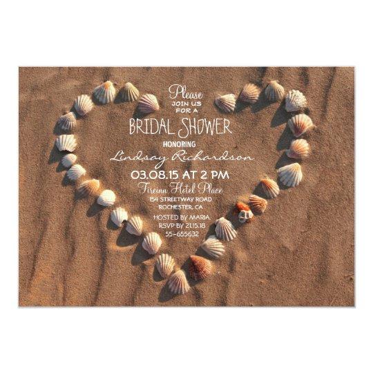 beach wedding sea shells bridal shower invitation