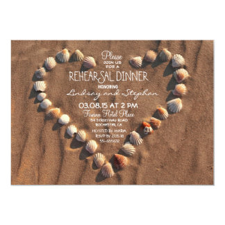 beach wedding sea shells rehearsal dinner invite