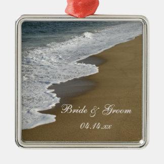 Beach Wedding Silver-Colored Square Decoration