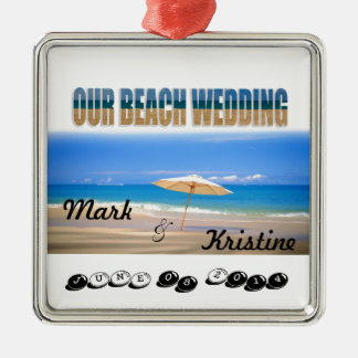 Beach Wedding Souvenirs and Giveaways Silver-Colored Square Decoration