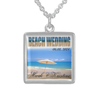 Beach Wedding Souvenirs and Giveaways Square Pendant Necklace
