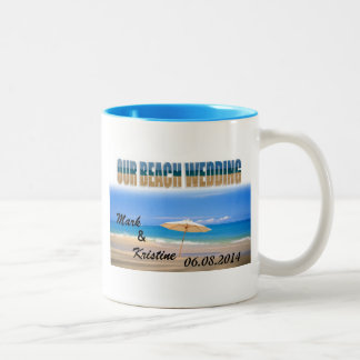 Beach Wedding Souvenirs and Giveaways Two-Tone Mug