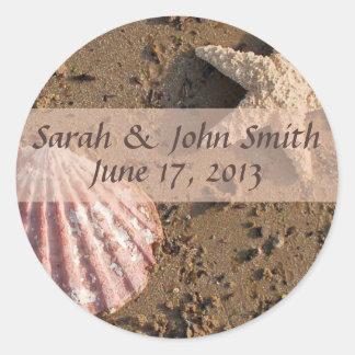 Beach Wedding Starfish and Sea Shell Seals2 Classic Round Sticker