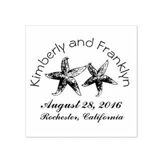 Beach Wedding Starfish Couple Rubber Stamp