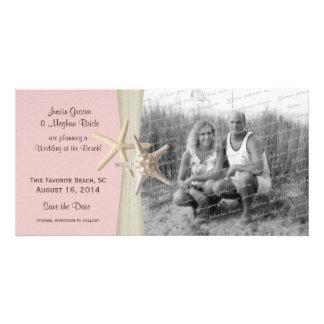 Beach Wedding Starfish Pink Save the Date Photo Custom Photo Card