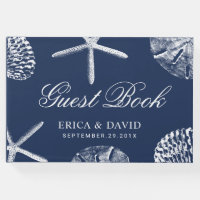 Beach Wedding Starfish & Sand Dollar Navy Blue Guest Book