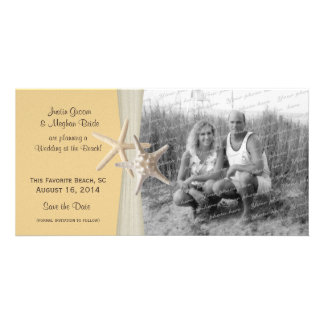 Beach Wedding Starfish Yellow Save the Date Photo Personalized Photo Card