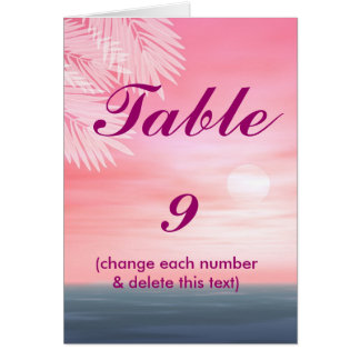 Beach wedding TABLE NUMBERS notecards Cards