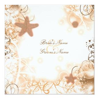 "Beach wedding theme ~ elegant party custom 5.25"" square invitation card"