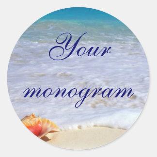 Beach Wedding Theme Envelope Seals Labels Round Sticker