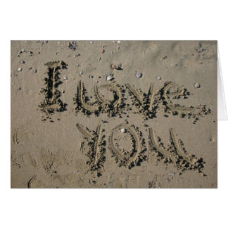 Beach Wedding Theme I Love You Written In Sand Card