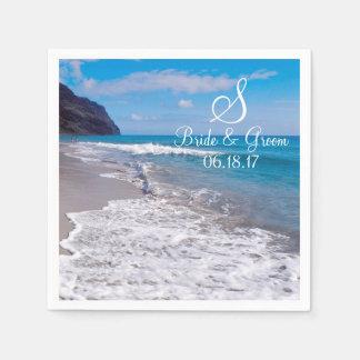 Beach Wedding Theme Monogram Date Bride Groom Name Paper Napkin