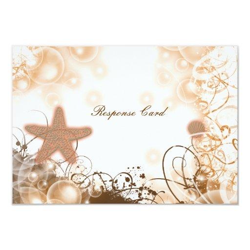 Beach wedding theme ~ response rsvp card 9 cm x 13 cm invitation card