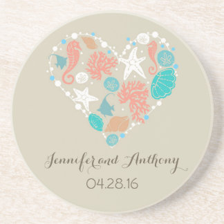 beach wedding with seashells beverage coasters