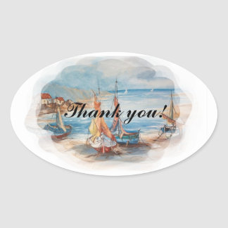 beach weddings oval sticker