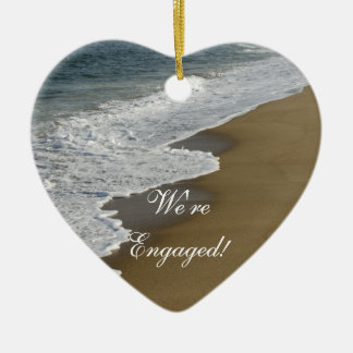 Beach We're Engaged Ceramic Heart Decoration