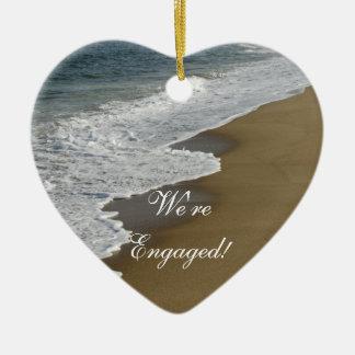 Beach We're Engaged Ceramic Heart Decoration