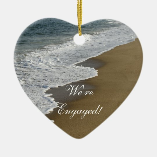 Beach We're Engaged Christmas Ornament