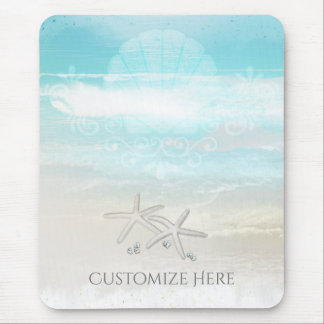 Beach White Starfish Elegant Summer Chic Tropical Mouse Mat